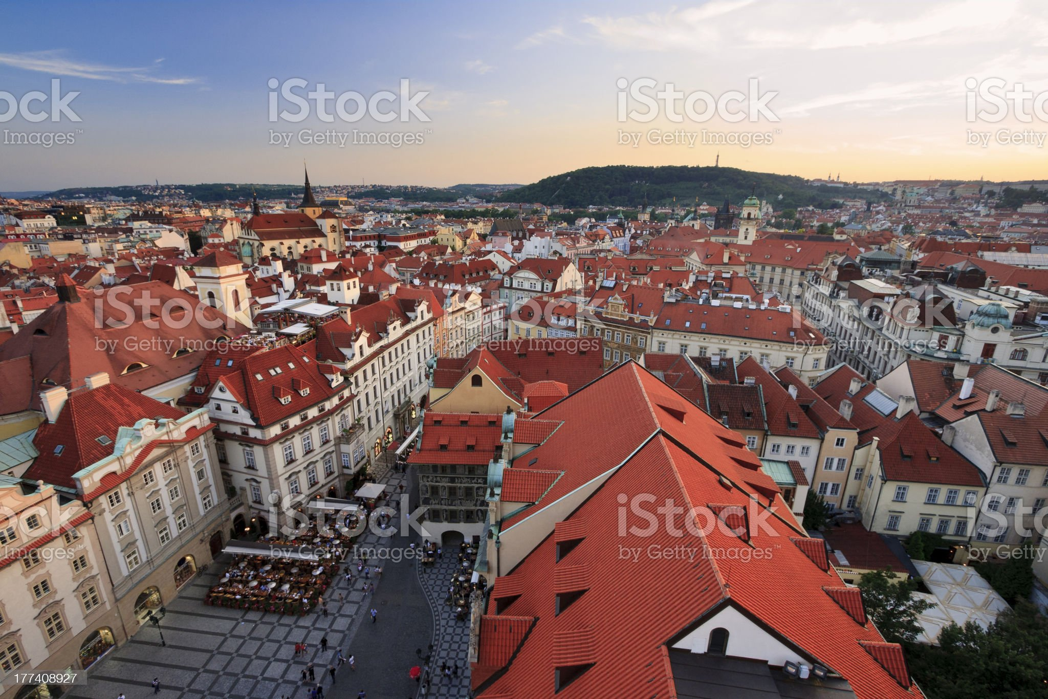 Roofs of Prague at Sunset royalty-free stock photo