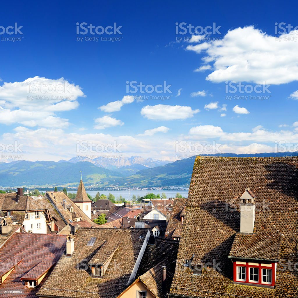 Roofs of Rapperswil, Switzerland stock photo