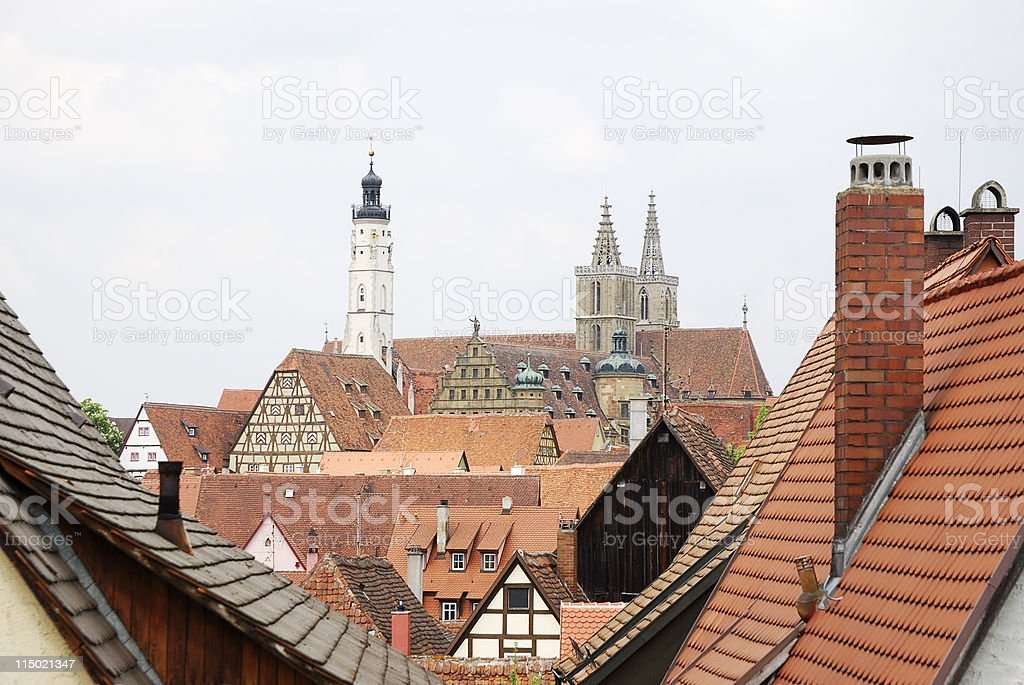 Roofs of Rothenburg stock photo