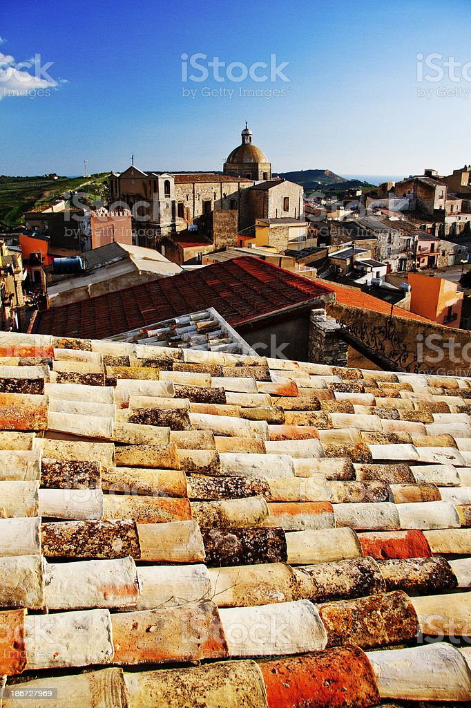 Roofs of Siculiana stock photo