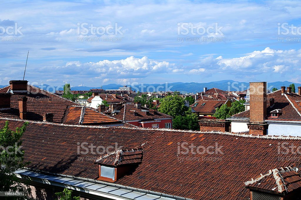 Roofs of Sofia in the summer. Bulgaria royalty-free stock photo
