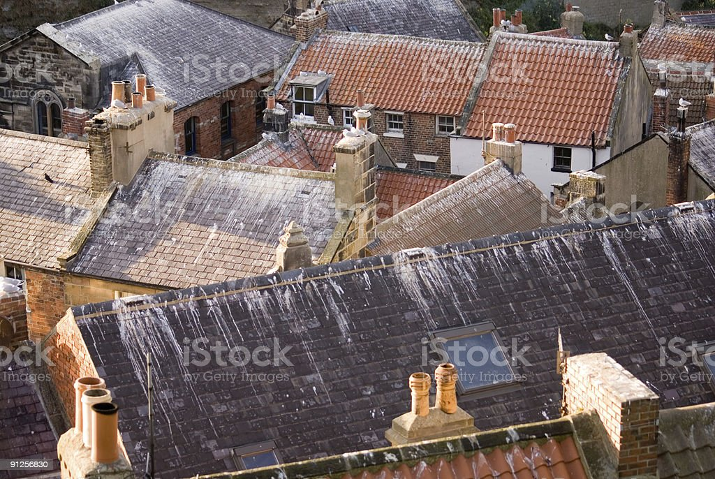 Roofs of Staithes stock photo