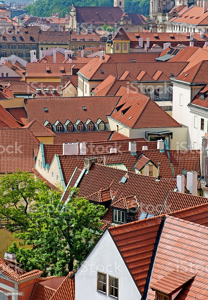 Roofs of the city Prague royalty-free stock photo