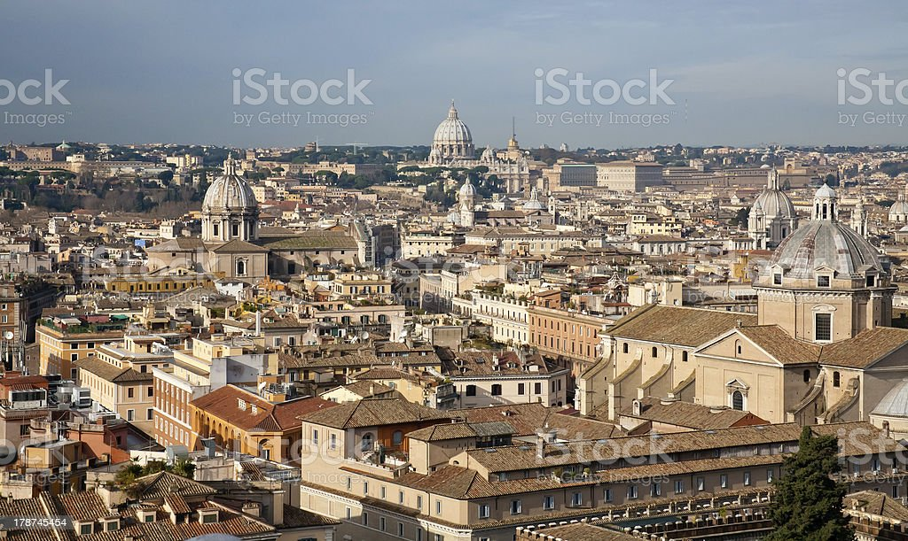 Roofs on Rome stock photo