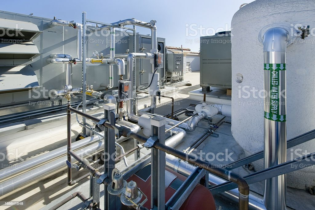 Rooftop Air Conditioning and HVAC Unit stock photo