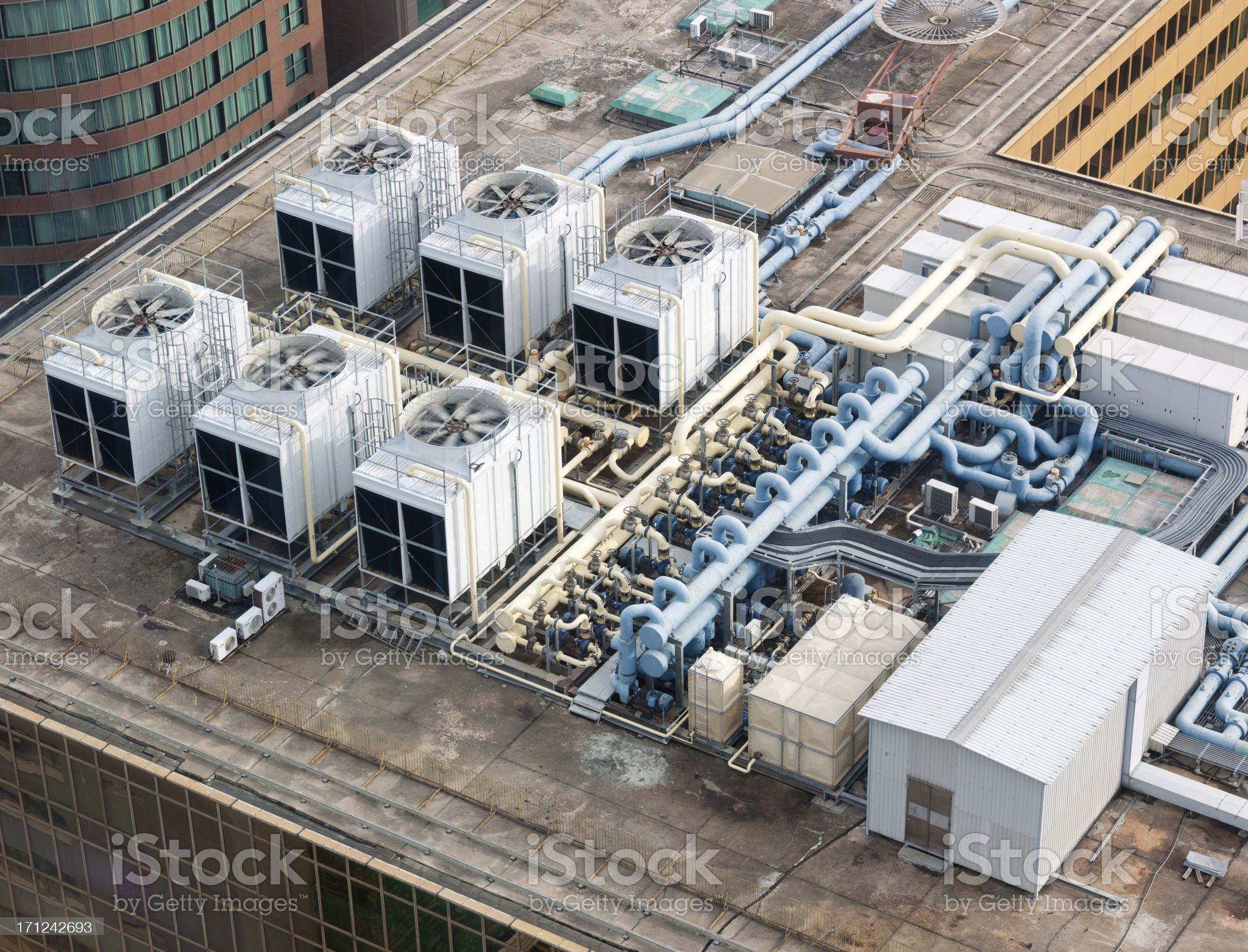 Rooftop Air System, Skyscraper, Hong Kong (XXXL) royalty-free stock photo