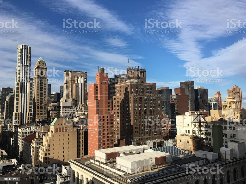 NYC Rooftop and Skyline Midtown Manhattan stock photo