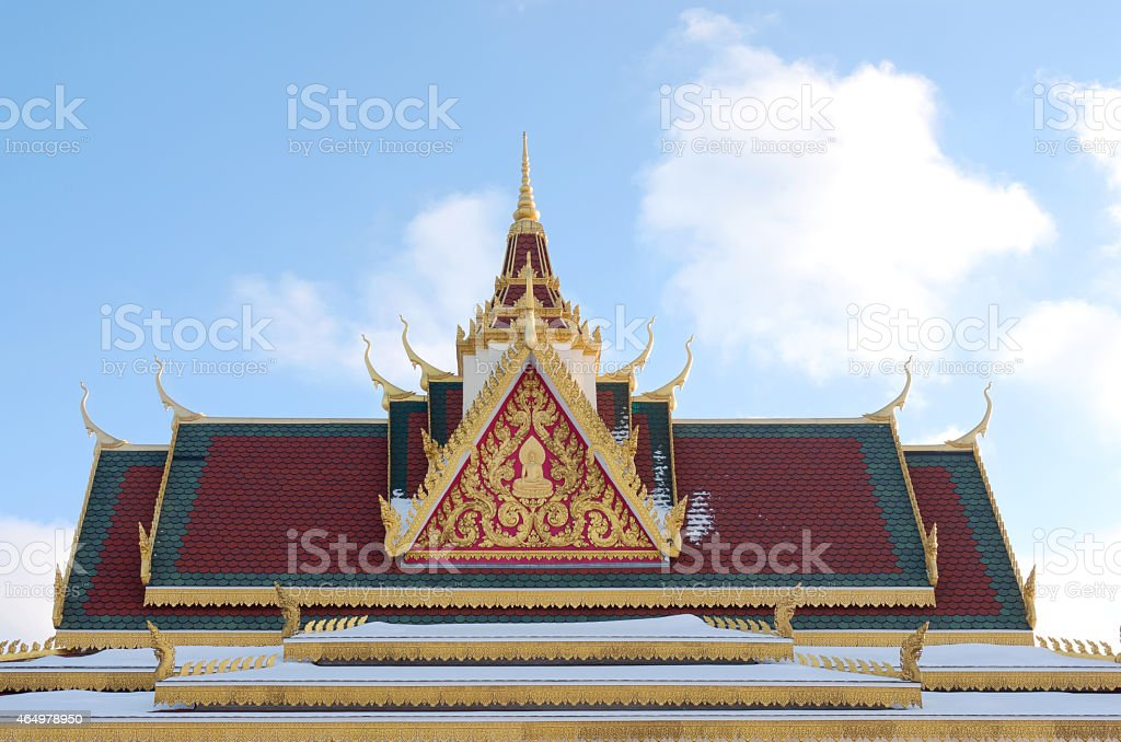 Rooftop and Spire of Buddhist Temple stock photo