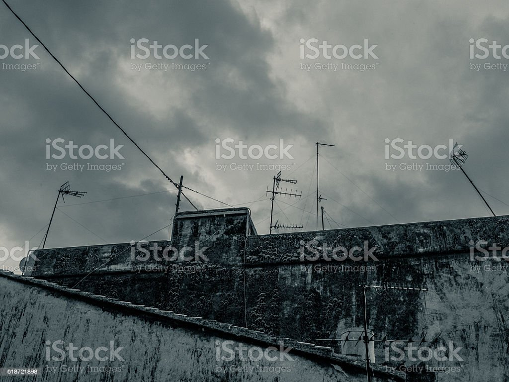 rooftop and tv antennas. stock photo