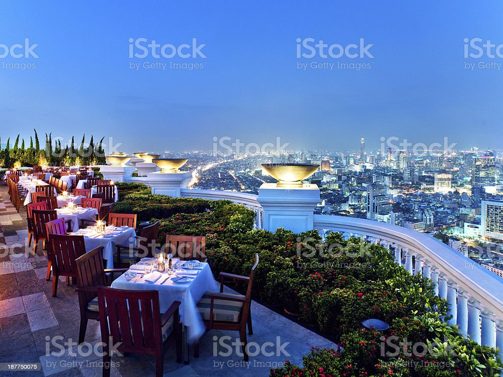 rooftop bar in Bangkok, Thailand stock photo