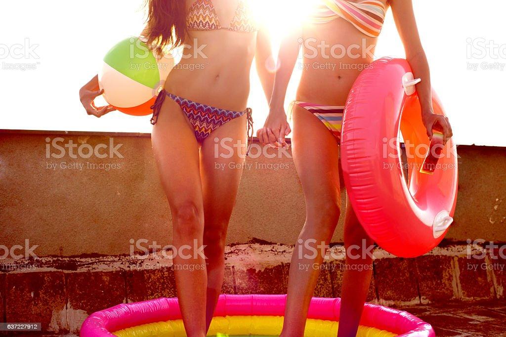 Rooftop bikini party stock photo