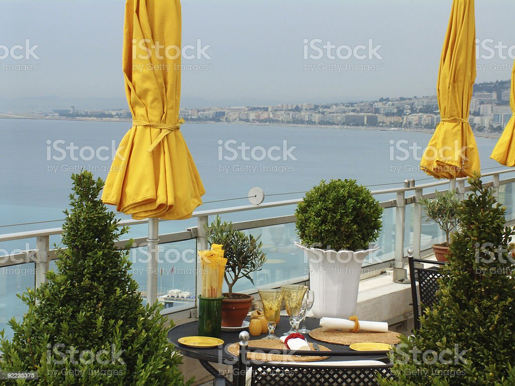 Rooftop Cafe on mediterranean royalty-free stock photo