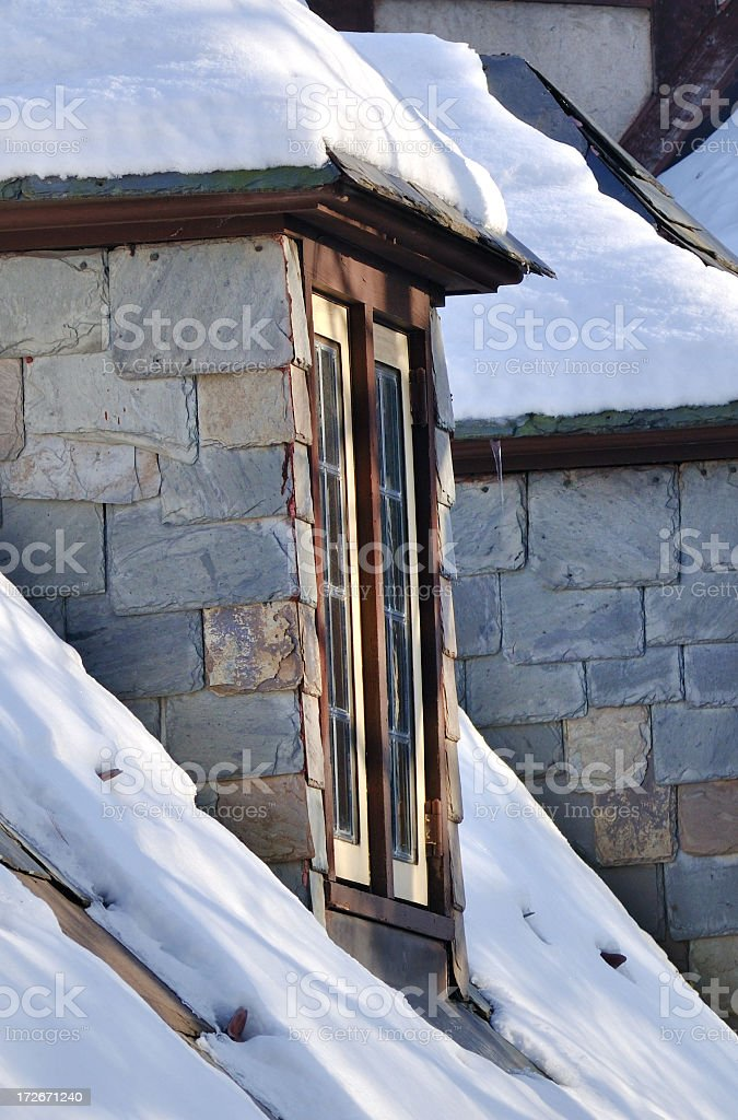 Rooftop covered with snow stock photo