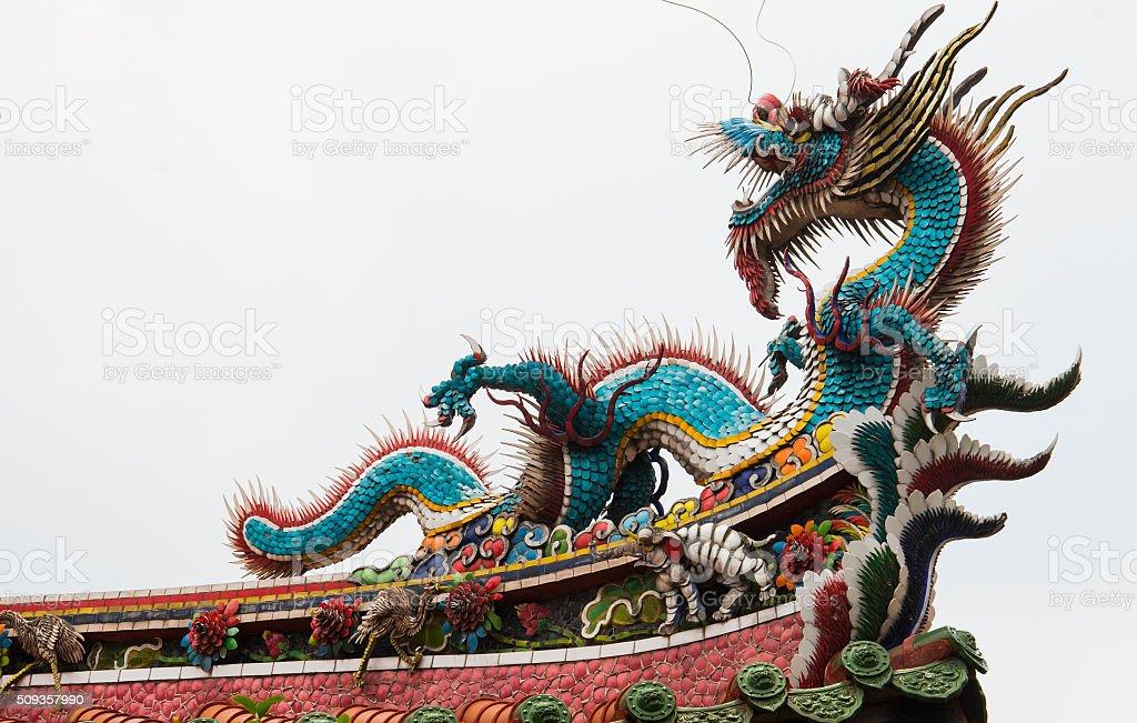 Rooftop Dragon Statue At Mengjia Longshan Temple stock photo