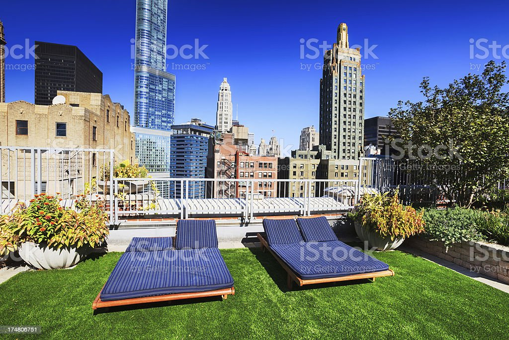 Rooftop Garden in Chicago royalty-free stock photo