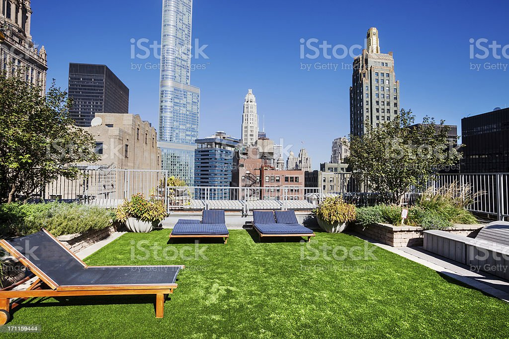 Rooftop Garden in The Loop, Downtown Chicago stock photo