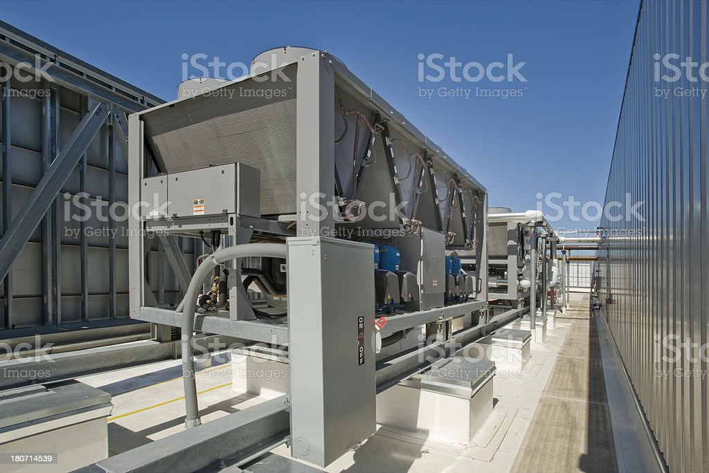 Rooftop HVAC Installation stock photo