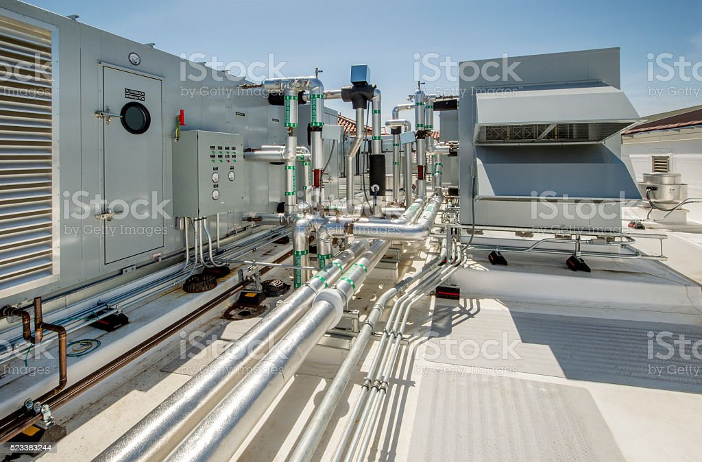 Rooftop HVAC System stock photo