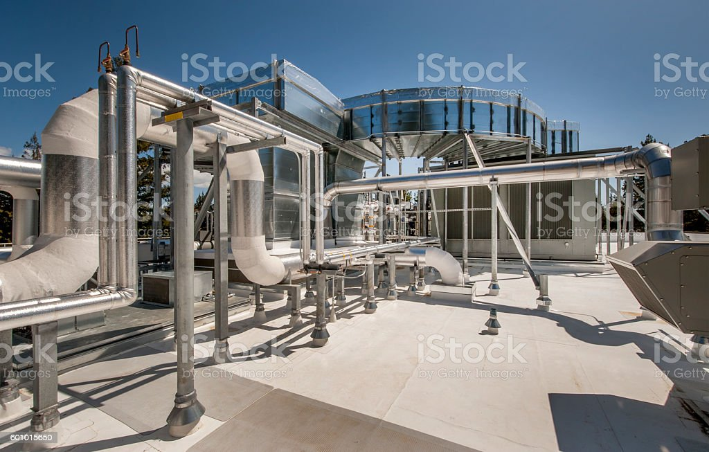 Rooftop HVAC with Overhead Ducting stock photo