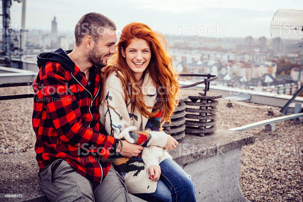 Rooftop love stock photo