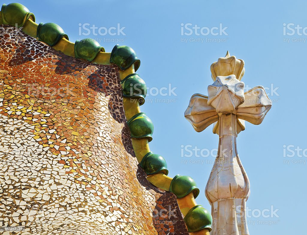 Rooftop of Casa Batllo in Barcelona stock photo