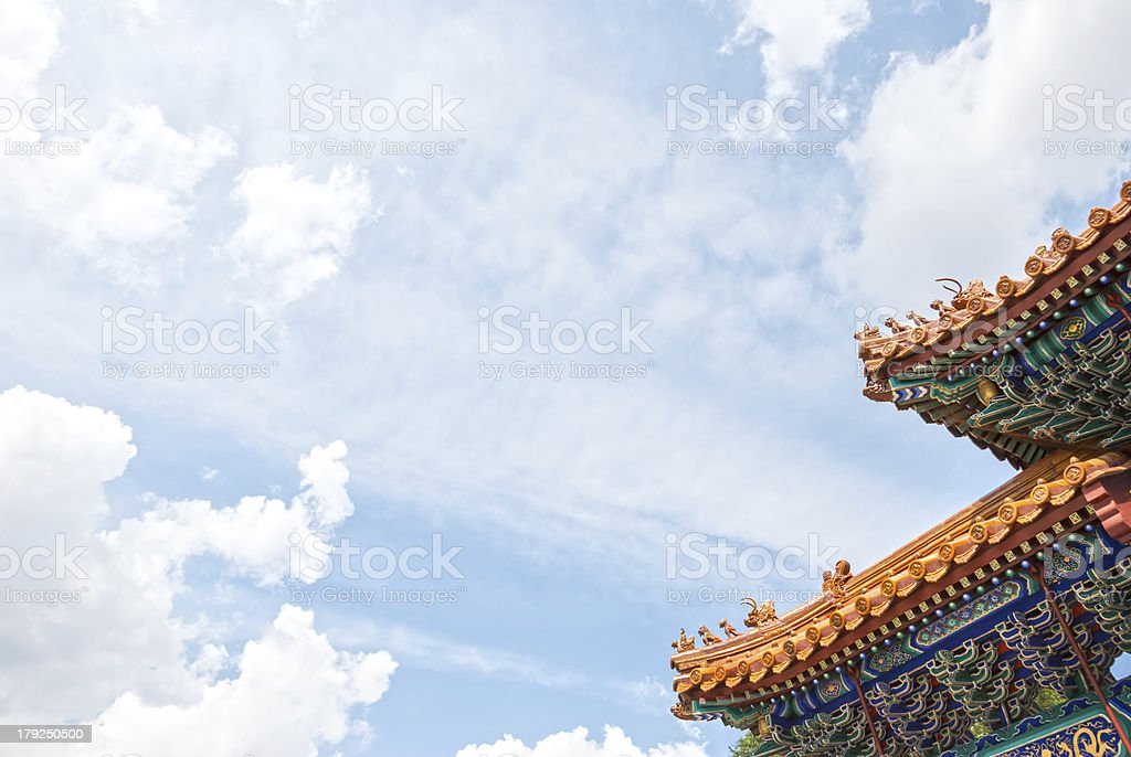 Rooftop of Chinese temple royalty-free stock photo
