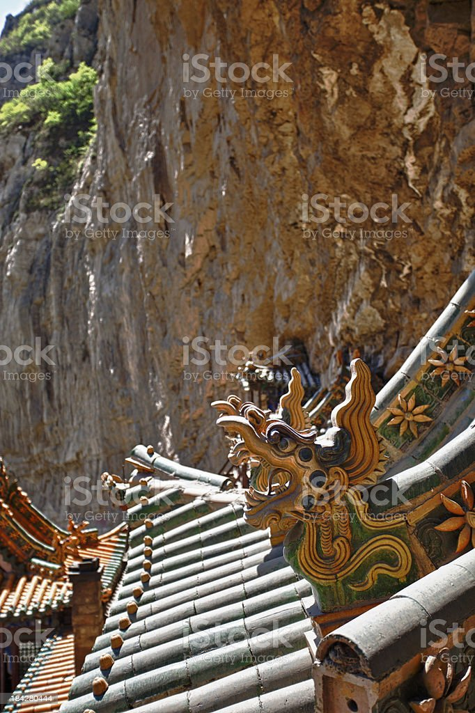 Rooftop of Hanging Monastery Temple in Datong, Shanxi, China royalty-free stock photo