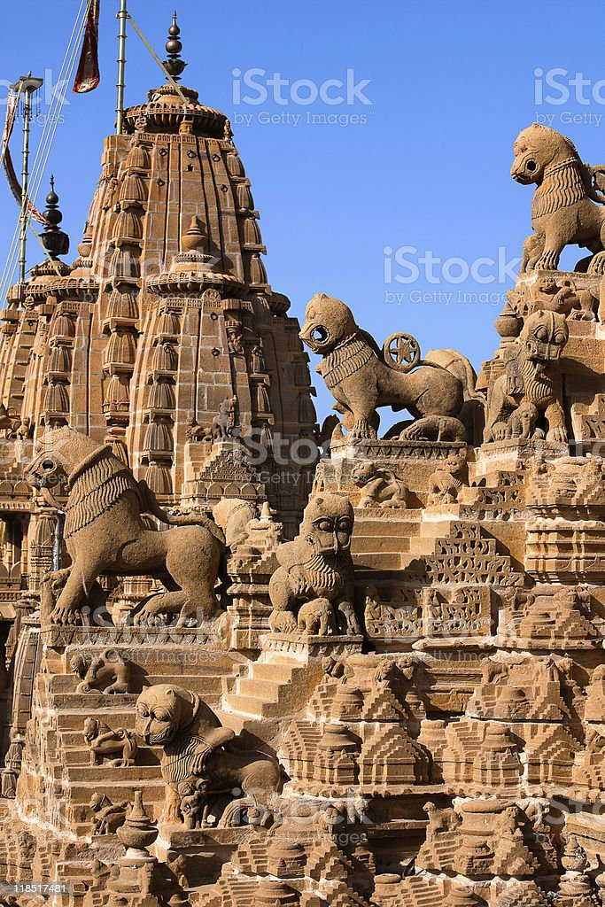 rooftop of jain temples in jaisalmer rajasthan india royalty-free stock photo