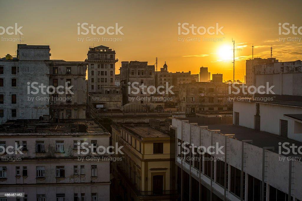 Rooftop of La Havane at sunset stock photo