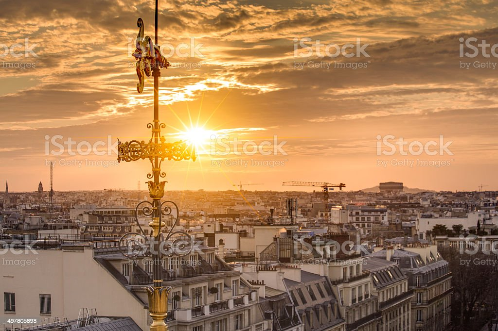 Rooftop of Paris from the Galeries Lafayette stock photo