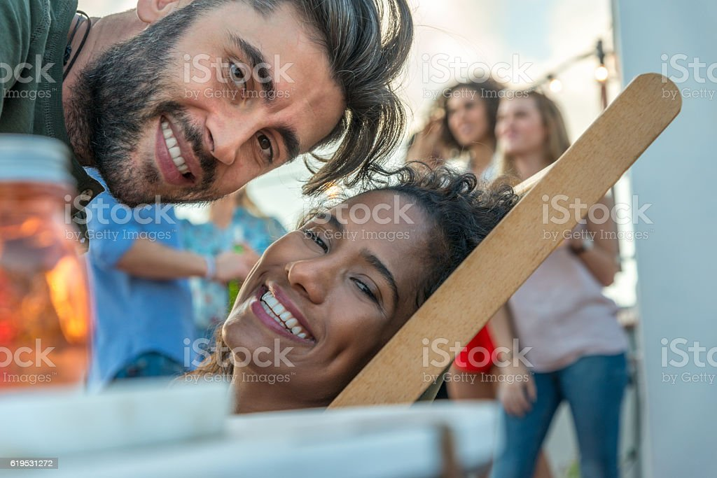 Rooftop party love stock photo