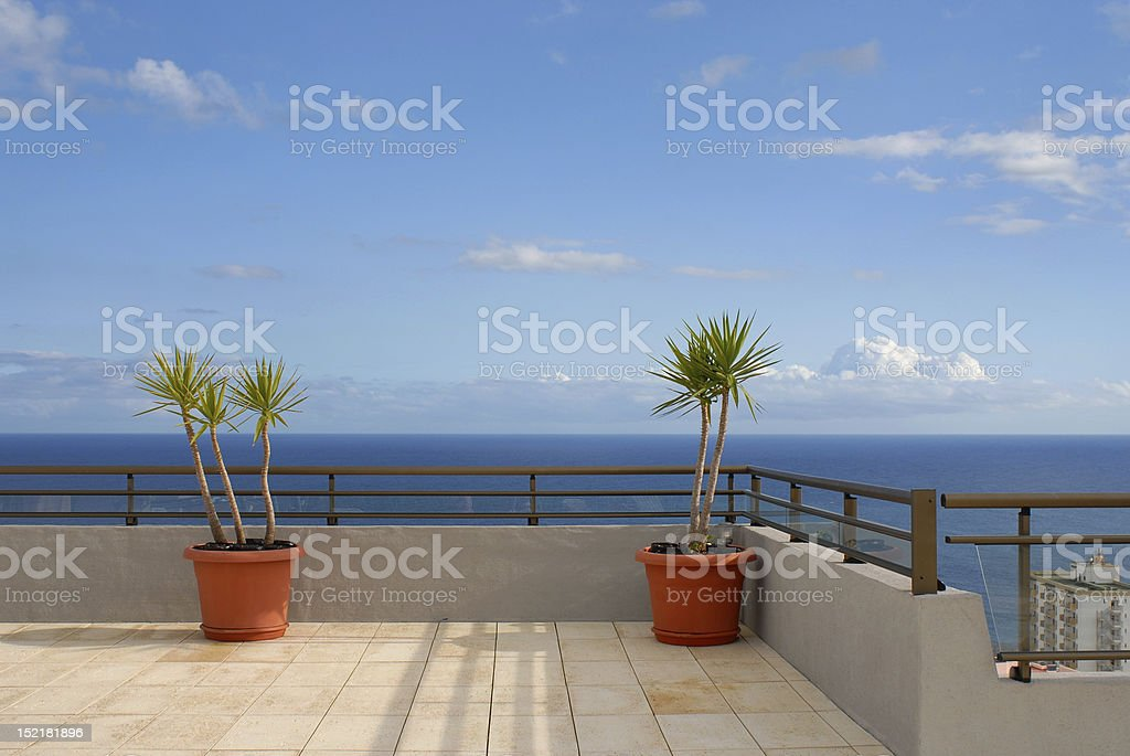Rooftop Patio Looking Out To Sea stock photo