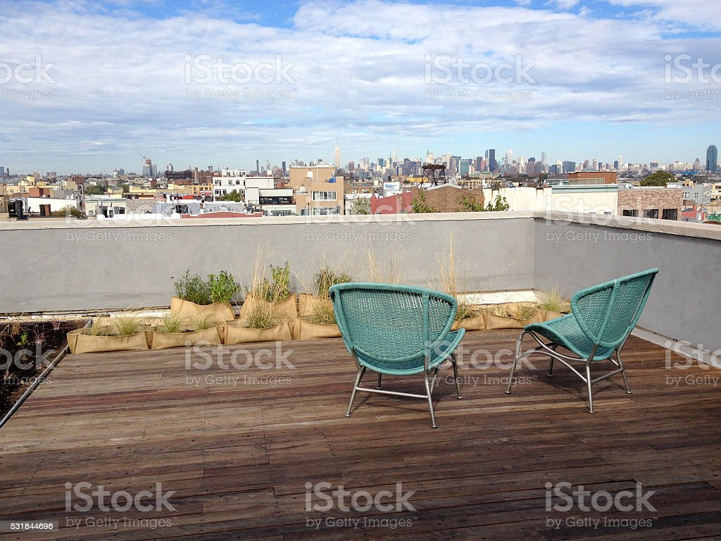 Rooftop patio overlooking downtown Broolyn stock photo