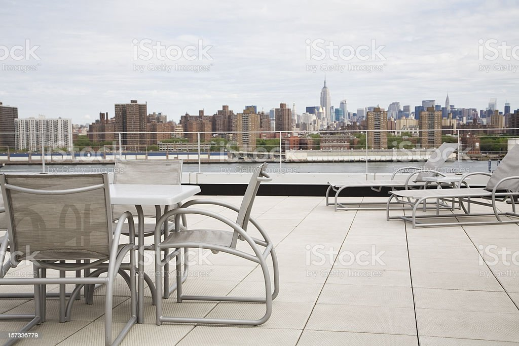 Rooftop Patio Terrace Overlooking New York City stock photo