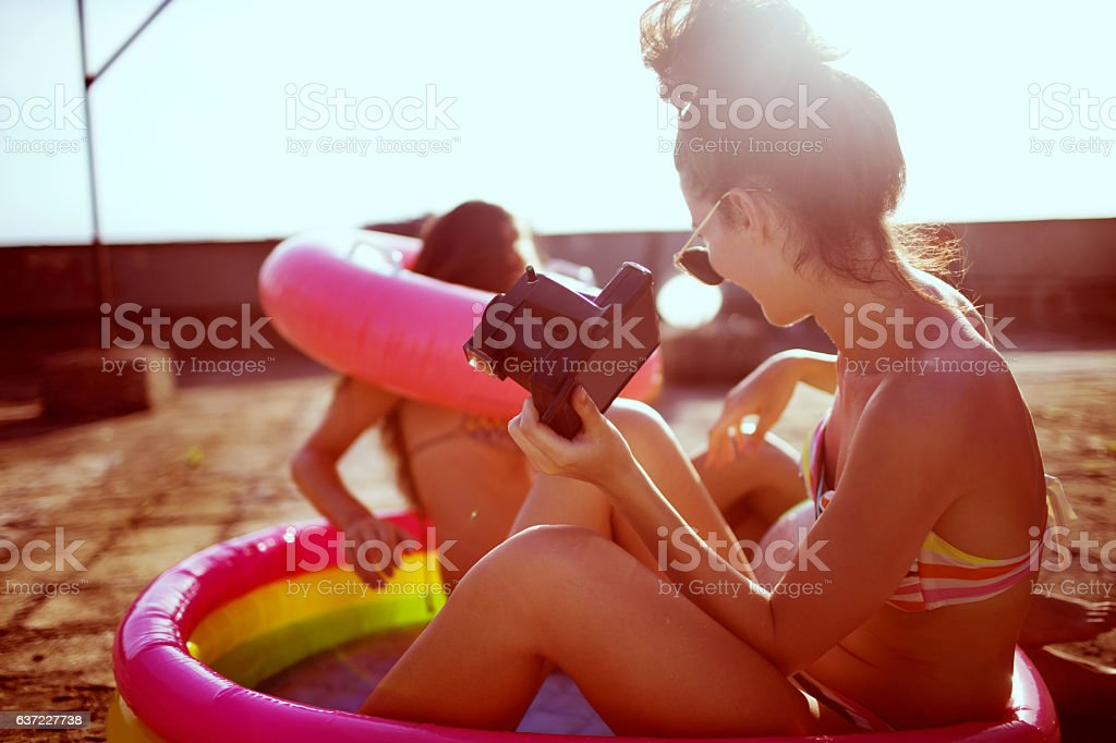Rooftop pool party stock photo