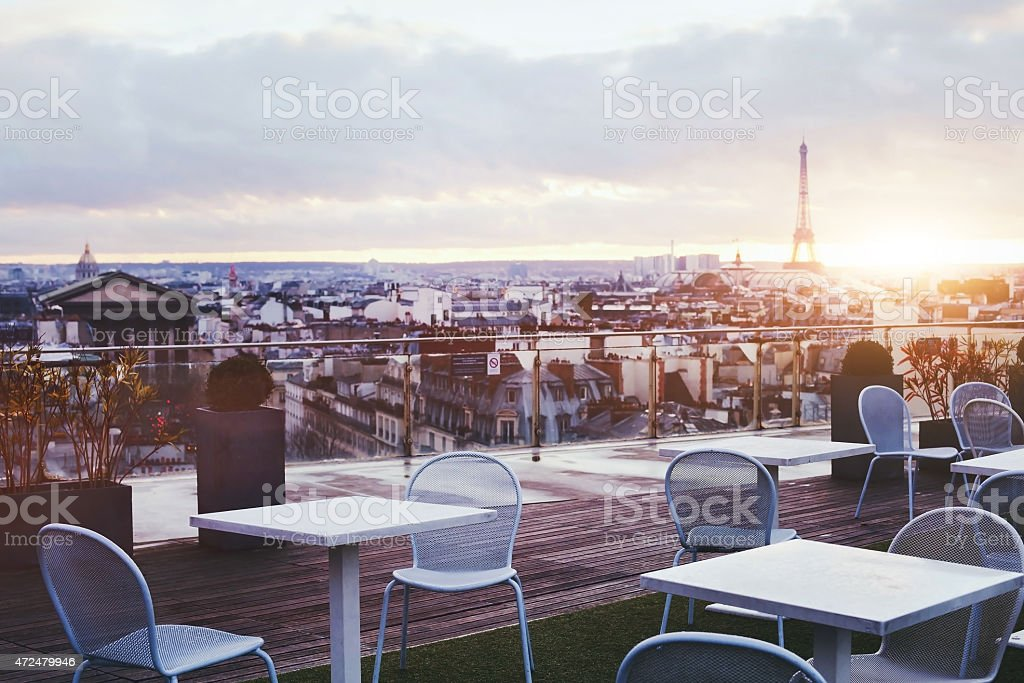 rooftop restaurant in Paris stock photo