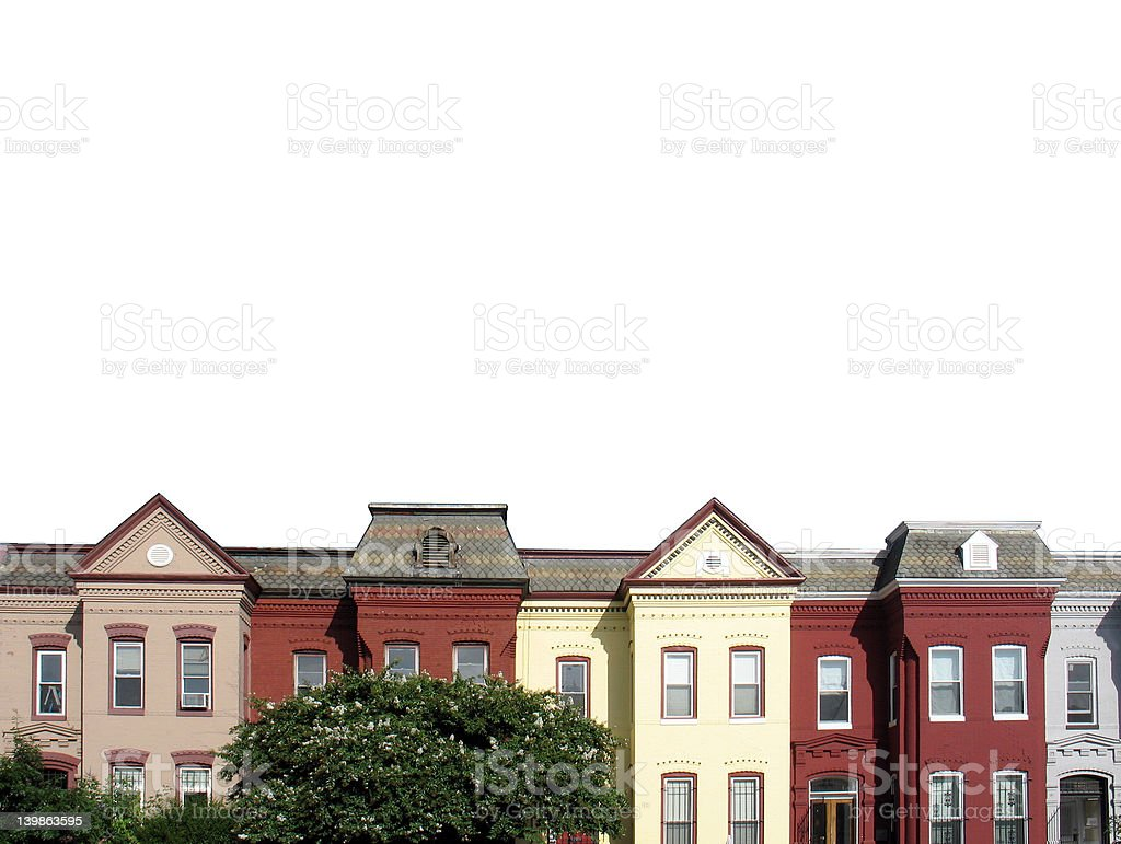 Rooftop rowhouses on white stock photo