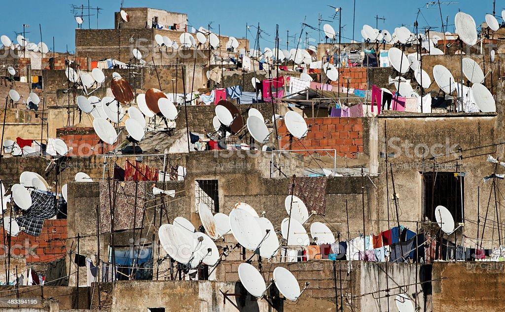 Rooftop scene in Fez, Morocco stock photo