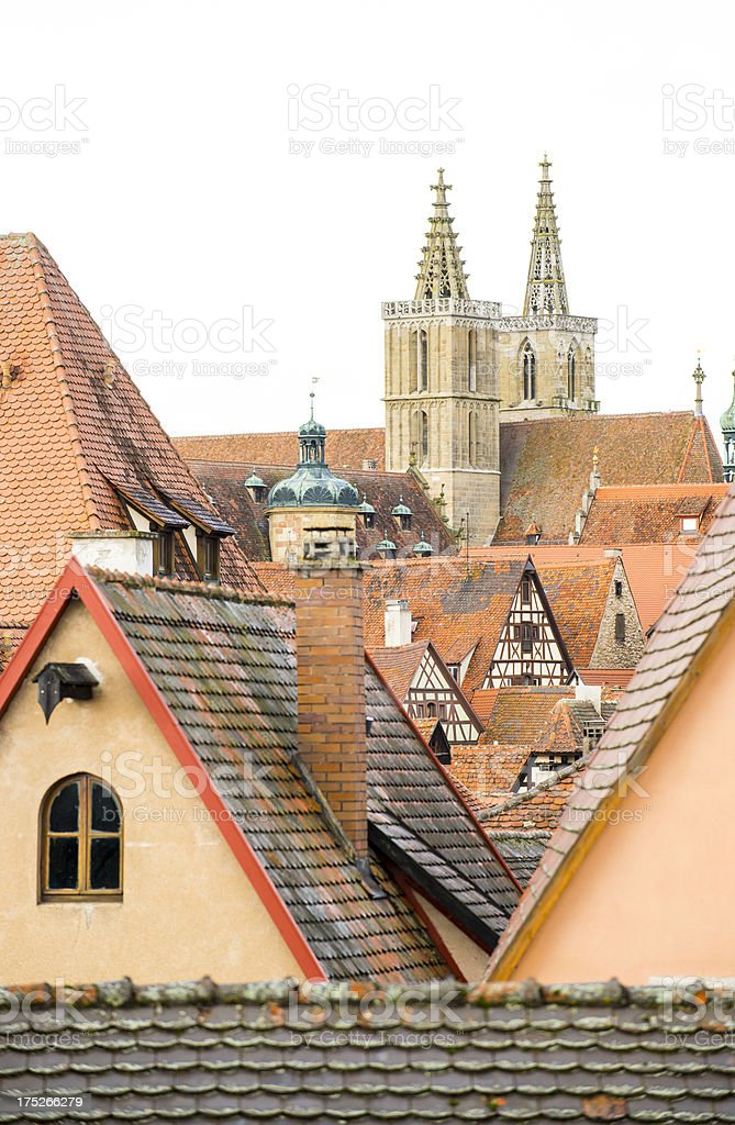 Rooftop scene with church, Rothenburg o. d. Tauber. royalty-free stock photo