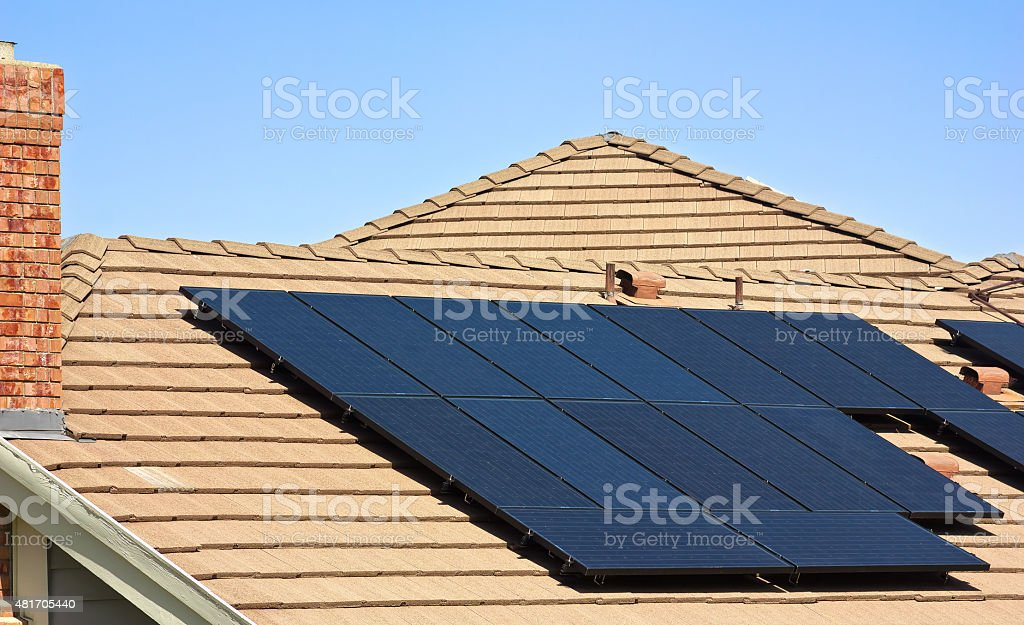 Rooftop Solar Panels stock photo
