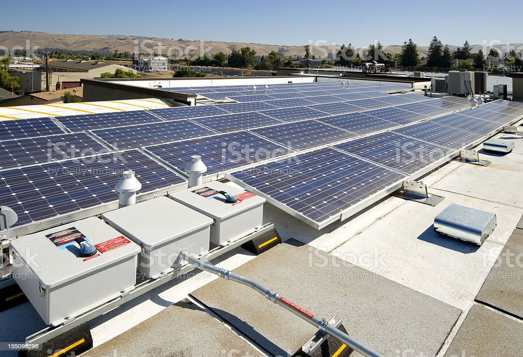 Rooftop Solar Power Installation royalty-free stock photo