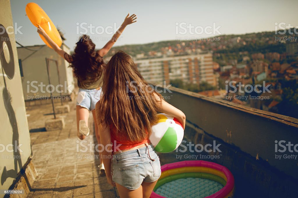 Rooftop summer party stock photo