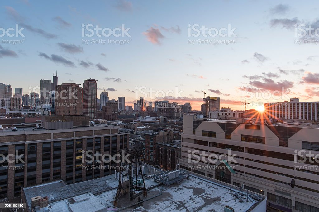Rooftop Sunset in the City stock photo