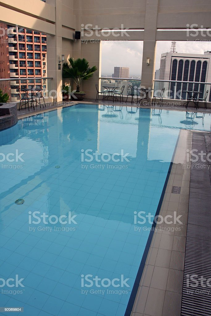 rooftop swimming pool high above manila philippines royalty-free stock photo