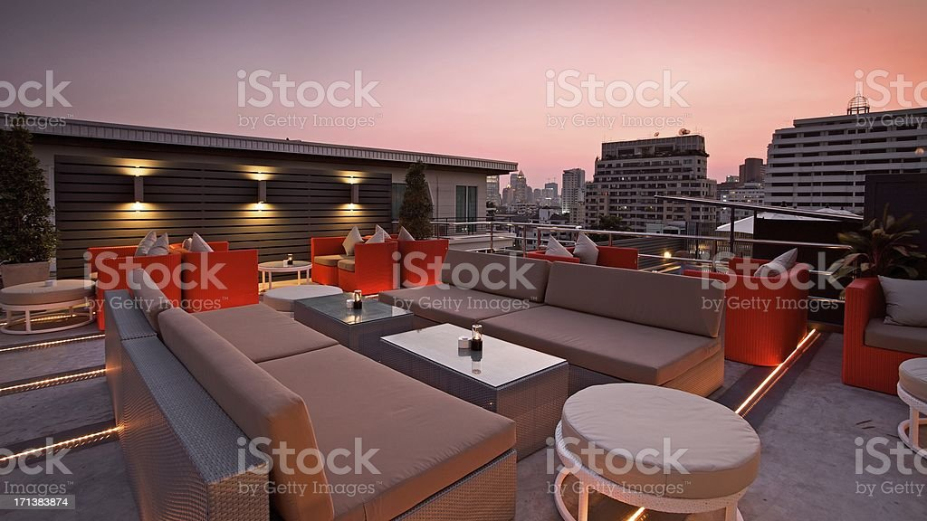 Rooftop Terrace Bar at Sunset stock photo