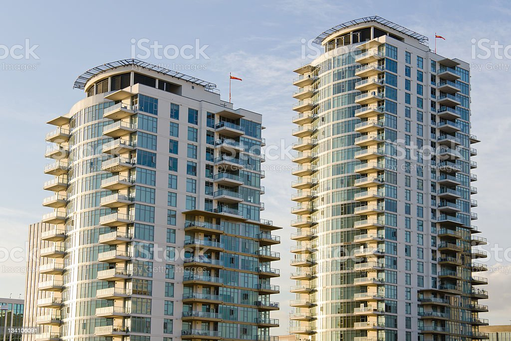 Rooftop View of Apartment Buildings in downtown Long Beach, California royalty-free stock photo