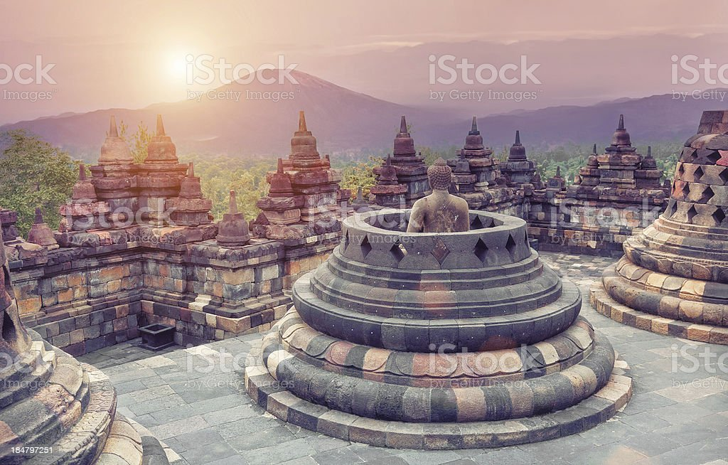 Rooftop view of Borobudur Temple stock photo
