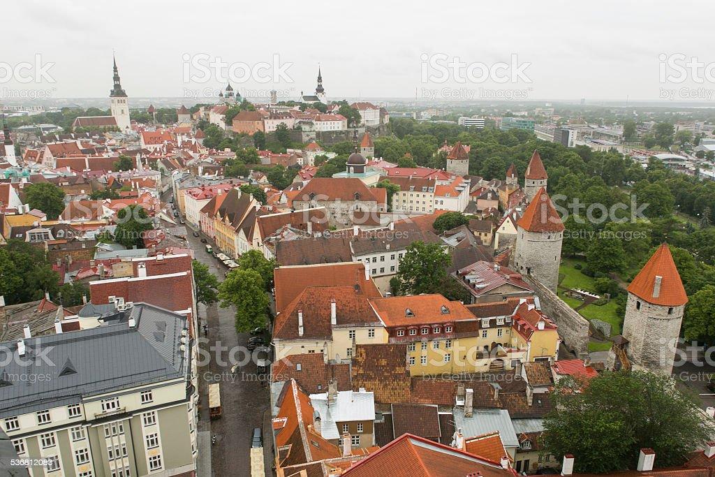 Rooftop view of historical oldtown buildings at tallinn estonia stock photo