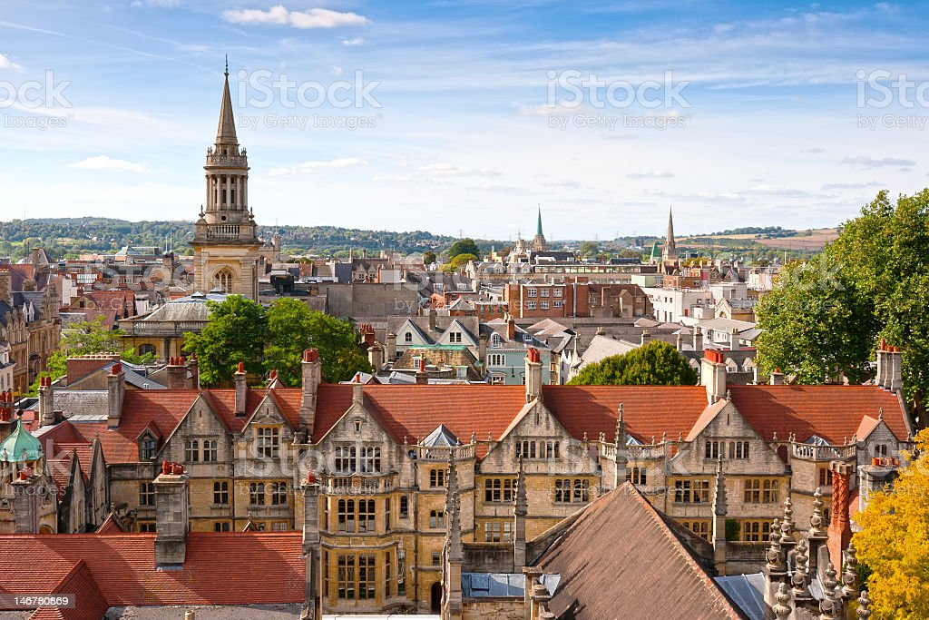 Rooftop view of Oxford, England stock photo