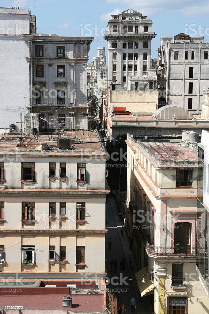 Rooftop View of Street Life in old Havana, Cuba royalty-free stock photo